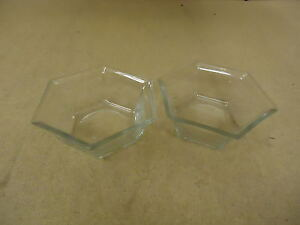 Designer Pair of Bowls Planters 6in W x 6in D x 2 1/2in H Clear Hexagon Glass