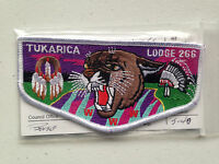 TUKARICA OA LODGE 266 SERVICE FLAP SCOUT PATCH RED WWW WHITE BORDER