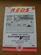 26/01/1991 Cliftonville v Linfield  (Light Fold, Pen Mark On Cover)