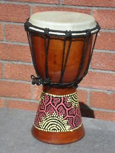 *  DJEMBE DRUM HANDMADE AND FAIRTRADE FROM BALI DOT PAINTED  *