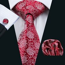 mens red white Sun Floral  silk tie hanky and cufflinks wedding necktie Party