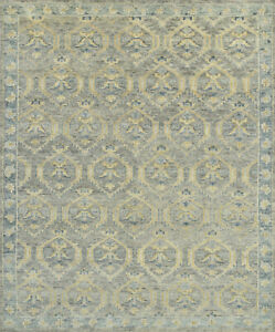 Village Oushak Rug, 8'x10', Grey/Blue, Hand-Knotted Wool Pile