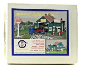 N Scale Architect Laser Cut Wood Kit Andrews Auto and Gas Original Box