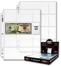 BCW 25 Pages For Banknotes 4 Pockets Album Binder Currency Stamps Free Shipping