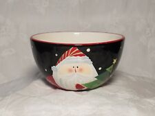 Certified International Santa Soup/Ceral Christmas Bowl Black.