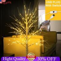 60LEDs Birch Tree Warm White Branches Pre Lit Twig Night Lights USB Indoor Decor