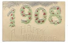 1908 New Year colour embossed postcard