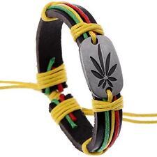 Bracelet Cuir Rasta Reggae Motif Chanvre Cordon Vert Jaune Rouge Taille Réglable