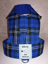 Olivia Cat Jacket/Walking Safety Harness, Royal Blue Tartan