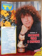 TV Sorrisi e Canzoni n°10 1991 Speciale Sanremo Riccardo Cocciante 1991 [D44]