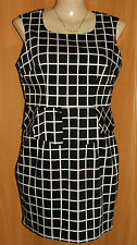 NEW/TAGS DESIGNER Black & White Check, Peplum Waist, Sleeveless Dress Size 14