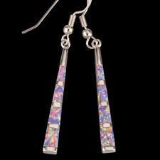 Stick Shape Lavender Purple Fire Opal Silver Jewelry Dangle Drop Earrings