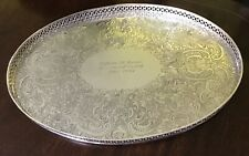 "15.5"" X 11"" Ornate Silver Plated Ovoid Tray Presented By L S Starrett & Co. 1990"