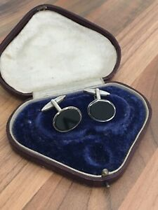 Sterling Silver Onyx Oval Cufflinks 9.68gr