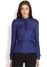 NWT NEW Burberry London Womens Sapphire Blue horizontal quilted jacket coat L