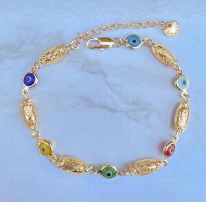 14k Gold Plated Oro Laminado Virgin Mary Bracelet Virgen De Guadalupe Pulsera