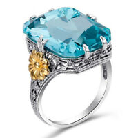 FJ- HOT Women Flower Large Square Cubic Zirconia Finger Ring Charm Jewelry Gift