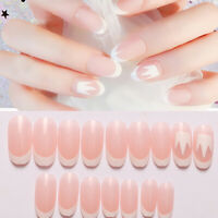 3D Classic Light Pink French Manicure Tool With Glue Fake Nails False Nail Tips