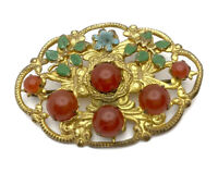 VINTAGE CZECH LARGE GOLD TONE CARNELIAN PASTE PAINTED BROOCH PIN Gift Boxed