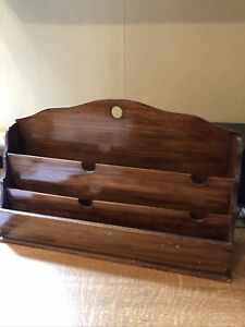 vintage wooden letter rack,Free standing or wall mounted 37 x 10 x 18 Cms
