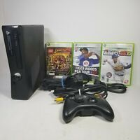 Microsoft Xbox 360 Console S 1439 Black Wireless Controller 3 Games Cables Cords