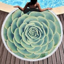 3D Succulents Plant Printed Round Beach Towel Yoga Mat Decor Travel Blankets