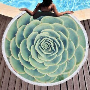 3D Succulents Plant Printed Round Beach Towel Yoga Mat Decor Travel Blankets