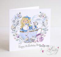 Personalised ALICE IN WONDERLAND Birthday Card - Daughter Sister Granddaughter