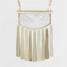 KENDRA SCOTT ellen necklace mother pearl gold white ivory cream fringe NEW NWT