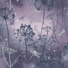 Arthouse Damselfly Purple Glitter Luxury Floral Feature Wallpaper 692306