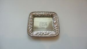 Gorham Sterling Silver Repousse Chased Calling Card Tray, 110 grams