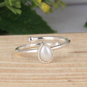 Natural Pearl Gemstone 925 Sterling Silver Girls Casual Adjustable Rings