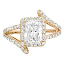 2.10ct Emerald Cut Criss Cross Halo Solitaire Engagement Wedding Ring 14k Yellow