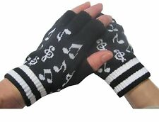 Unisex Black White Music Notes Fingerless Knit Gloves for Texting Warm