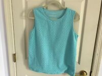 Woman's Talbots size medium blue embroidered front sleeveless cotton top