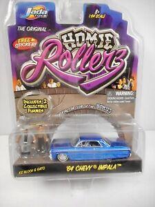 New 1:64 Homie Rollerz Jada Toys 1964 Chevy Impala w/ Ice Block & Gato