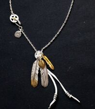 Goro's Feather Necklace Sterling 925 Silver Sun Flower + Beaded Deerskin + Chain