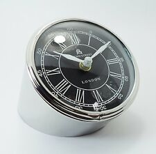 Chrome Contemporary Minimal German Design Desk Clock From Stainless Steel