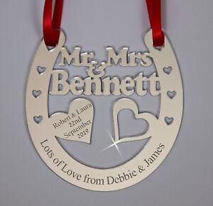 Personalised Mirror Wedding Horseshoe Bridal Keepsake Gift Plaque Christmas Gift
