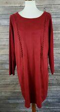 INC International Concepts Faux Suede Knit Sheath Dress 0X Glazed Berry