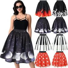 Vintage Women High Waist 3D Print Ball Gown Party Skater Puffy Midi Tutu Skirt