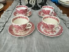 ROMANTIC ENGLAND RED TRANSFERWARE 4 tea  CUPS & SAUCERS VINTAGE