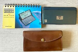 Psion Series 5 (green case) with rare Mulberry Leather Case and Instruction Book