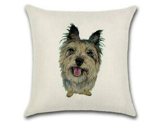 "YORKSHIRE TERRIER 🐶 Heavy Linen CUSHION COVER 🐶18""x18"" 🍁CANADIAN SELLER🍁"
