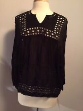 Isabel Marant Etoile SZ 42/US 10 Black ETHAN (?) V-Neck Eyelet Tunic Shirt Top