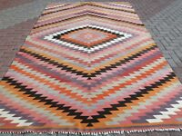 "Antique Turkish Antalya Classic Kilim Diamond Designed Rug Wool Carpet 87""x135"""