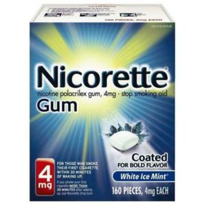 Nicorette Gum 4mg White Ice Mint 160 Pieces Exp JULY 2023+ NEW Sealed Fresh Bxs
