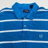 Chaps Polo Shirt Mens 2XL XXL Blue White Short Sleeve 100% Cotton Striped Casual