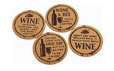Set of 4 Novelty Wine Lovers Cork Coasters Humourous 4 sets to choose from New