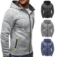Mens Zip Up Hoodie Hoody Fleece Jacket Sweatshirt Winter Casual Hooded Coat Tops